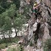 Lora E. climbing.