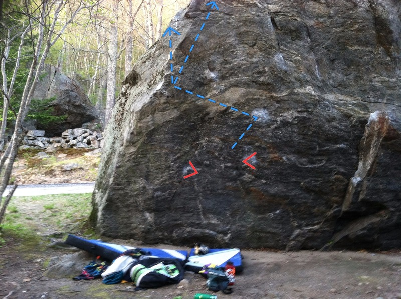 Deacon Variation, with start holds and line of travel shown. It can top out immediately or follow the arete to the top of the boulder.<br> <br>