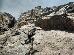 Rock Climbing Photo: Vincent starting off on the first pitch of The Ody...