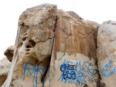 Rock Climbing Photo: Detail of the Overhanging Face/Crack, Dixon Lake