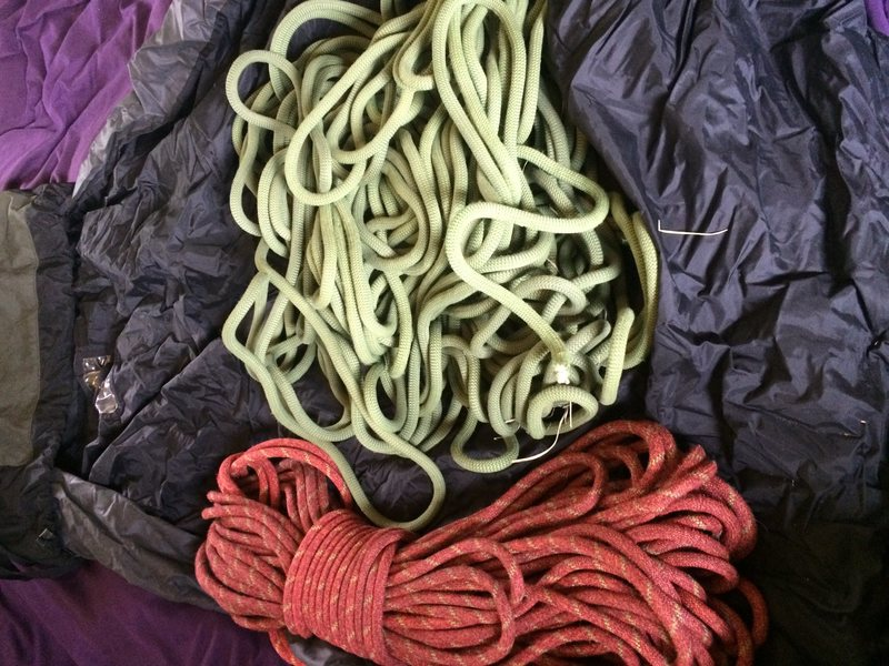 Rock Climbing Photo: Red-sterling rope  Green-petzel rope