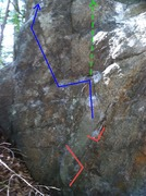 Rock Climbing Photo: Lord Of The Flies with start holds and line of tra...