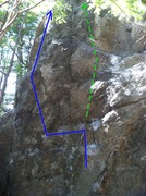 Rock Climbing Photo: The top portion of the problem shown in blue. The ...