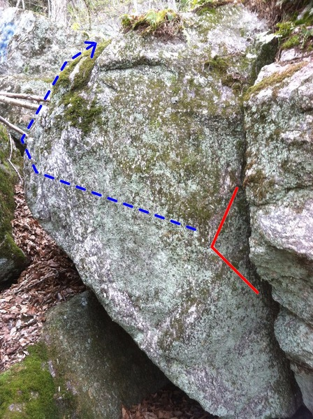 2 Minutes To Midnight, with start holds and line of travel shown. This traverses out left and around the corner until you can get some better holds up high to top out. <br> <br>  <br> <br>