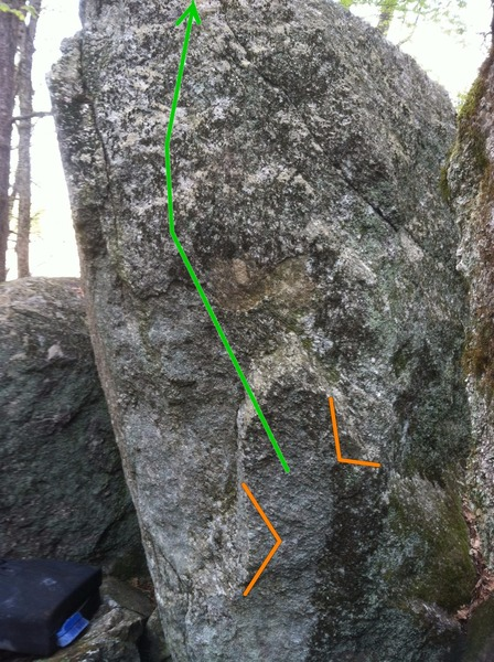Top Gun, start holds and line of travel shown. This line heads more or less straight up the face.