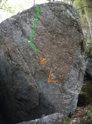 Rock Climbing Photo: Darkness Falls with the start holds and line of tr...