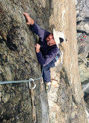 Rock Climbing Photo: Very small crimps on the crux of Guilty Pleasure