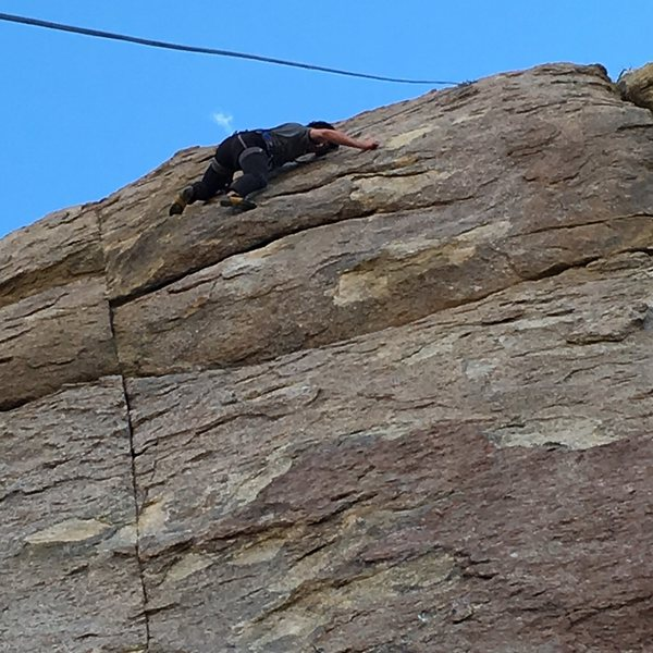 Rock Climbing Photo: Just past the bulge moves, approaching the anchor,...