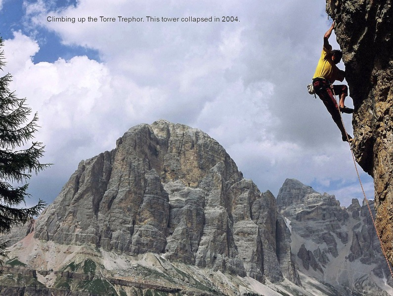 Enrico Maioni climbing on the Torre Trephor - © www.guidedolomiti.com