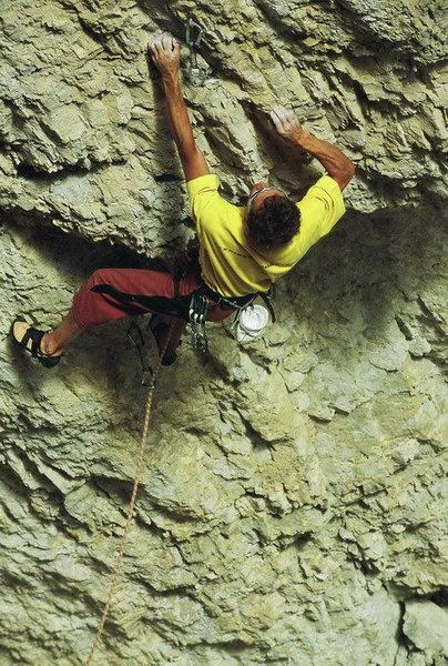 Rock Climbing Photo: Enrico Maioni climbing 'Il Dau delle nevi'-5.12a -...