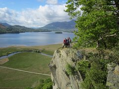 Rock Climbing Photo: Climbers on the top of Shepherds Crag . Borrowdale...