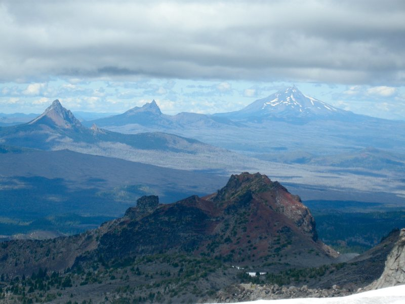 Left to right, Mt. Washington, Three Fingered Jack,<br> and Mt. Jefferson, Oregon Cascades. Photo from Middle Sister.