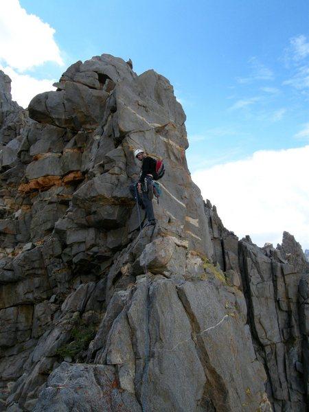 Climbing Venusian Blind. Temple Crag.