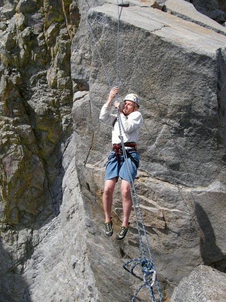 Rock Climbing Photo: Tyrolean traverse on Sun Ribbon Arete.