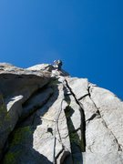 Rock Climbing Photo: High up, on the Sun Ribbon Arete.