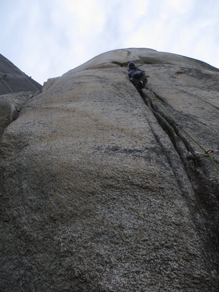 Rock Climbing Photo: Ren, with some guys aiding Tantalus wall in the ba...