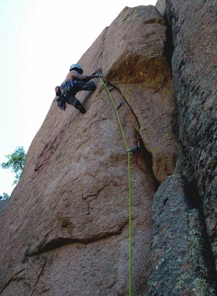 Hugo on first ascent past the thin crux.