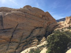Rock Climbing Photo: White sandstone cliff, Sonic Youth down and right....
