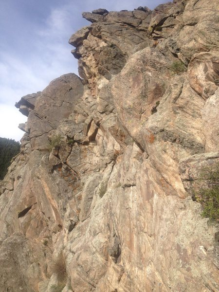 It is easy to see the rock jutting out at the top of the photo. This is the crag.