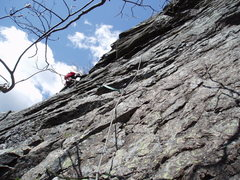 "Rock Climbing Photo: JS at the ""nose"", end of P2 of ""A N..."