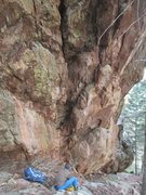 Rock Climbing Photo: Stuart sits at the base of Party Of One.  It is ac...