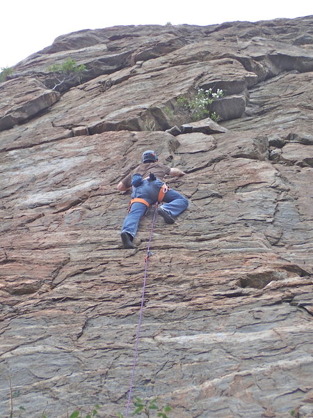 Climber on SE Buttress Right Side