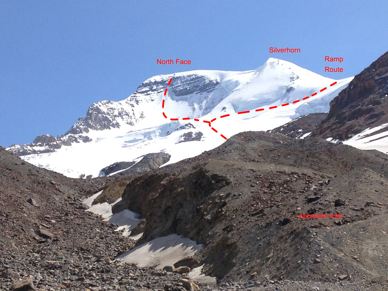 Looking at the face from the Snowcoach staging area. Approach trail is on the moraine on the right