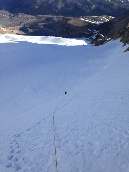 Rock Climbing Photo: Looking down the snow/ice slope