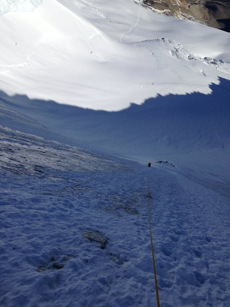 Ascending the ice/snow slope