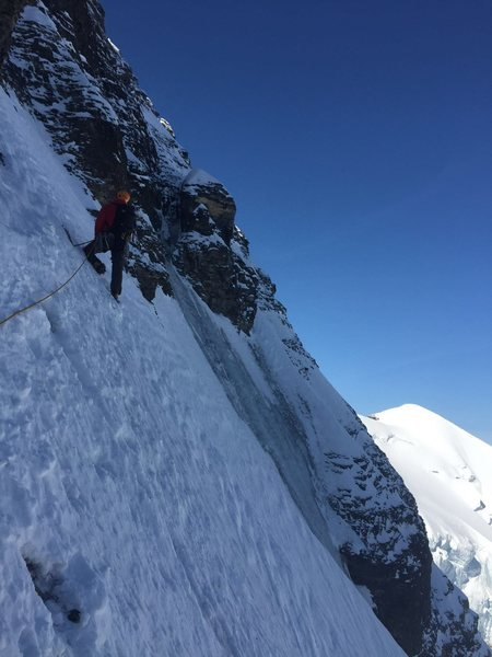 At the base of the crux rock pitch. No pics of the crux as we belayed around the corner.<br> Photo from Nate Bernhard