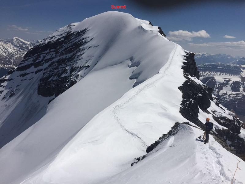 Photo of the descent looking back at the North Face. We are on the top of the Silverhorn<br> Photo from Nate Bernhard