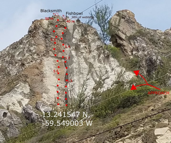 Rock Climbing Photo: route lines and approach