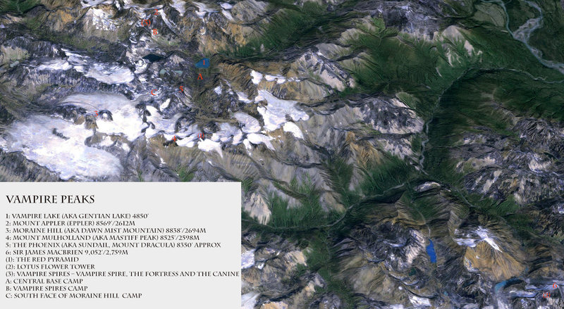 Overview of the Vampire Peaks. Created from a Google Earth image by Pat Goodman 2015.