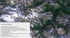 Rock Climbing Photo: Overview of the Vampire Peaks. Created from a Goog...