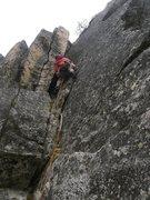 Rock Climbing Photo: The flaring chimney (P2) of Jaberwocky Tower.  It ...