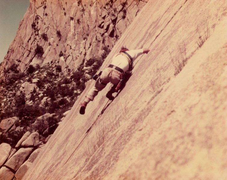 Rock Climbing Photo: Down climbing Tooth Fairy about 1978