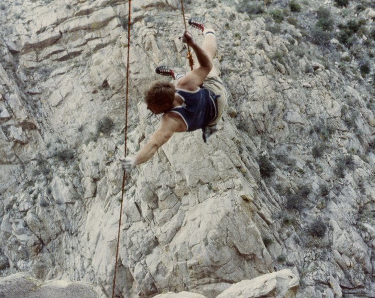 Mark Motes toproping Cheap Trick in Citadel Canyon about 1979