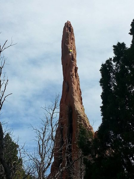 My first red sandstone trad (mixed) climb. Do it one pitch. Rap off the anchors with a 70m.