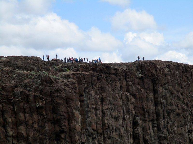 A crowd of tourists seen across the gorge while climbing Welcome to Vantage. Welcome to Vantage, indeed.