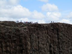 Rock Climbing Photo: A crowd of tourists seen across the gorge while cl...