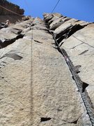 Rock Climbing Photo: Looking up Steel Grill (right crack).