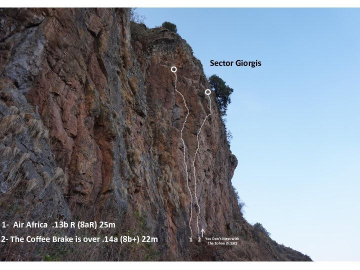 This photo shows where these two new climbs go.