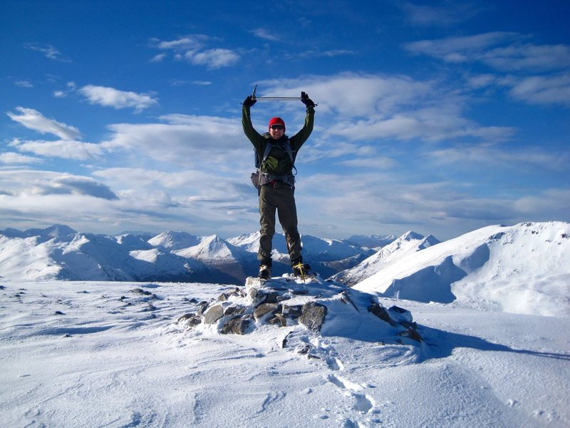 Top of Aonach Meadhoin on a nice bluebird day in the Scottish Highlands near Ratagan