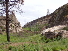 Rock Climbing Photo: Little West Canyon from the south after the 2015 f...