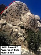 Rock Climbing Photo: East Face View. Approach View. Wild Rose 6.7 Sport