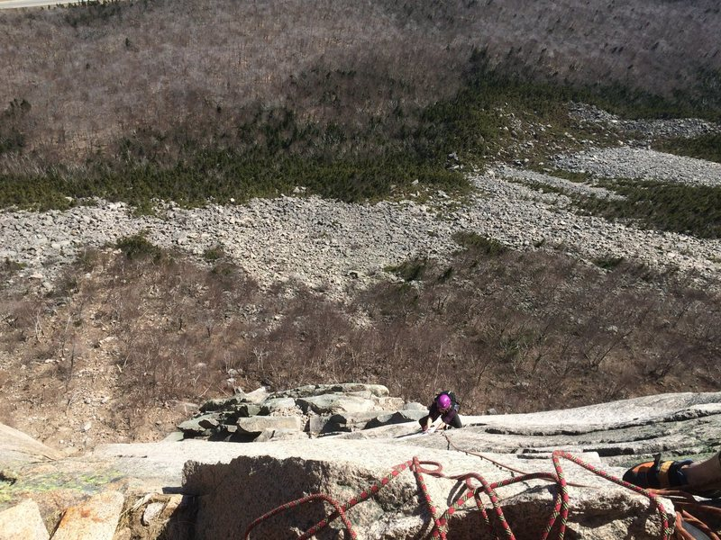 Hannah on Moby G. Rockfall damage on the bottom left.