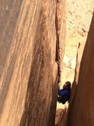 Rock Climbing Photo: Lance Lemkau coming up the awesome last pitch. Rem...