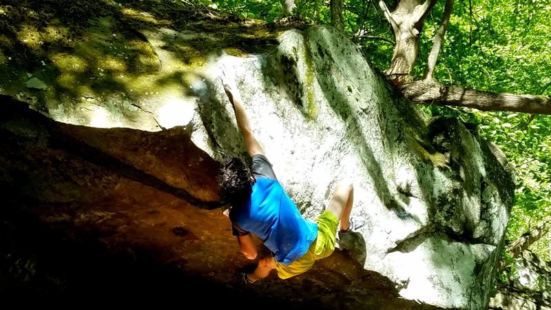 "Rock Climbing Photo: Oliver Richman on the crux move of ""Dr. Jones..."