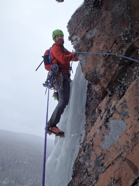 Pitch three traverse from the hanging belay