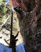 Rock Climbing Photo: Opening moves of Mr. Snuffleupagus, 5.11c.
